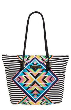 Rip Curl 'Hearts Desire' Beach Bag available at Brown Leather Purses, Pink Leather, Striped Tote Bags, Best Handbags, Beach Tote Bags, Womens Purses, Rip Curl, Black Tote, Bag Accessories
