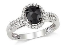 1 Carat Black and White Diamond 14K White Gold Ring w/Black Rhodium - RDX_122066