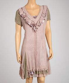 Take a look at this Olive & Rose Short-Sleeve Dress by Saga on #zulily today!