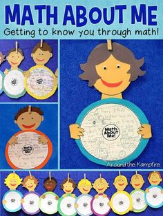 Math About Me craft where students describe/define themselves using math! Includes a take home math autobiography page and parent letter so students have their personal math info at school! so much fun for getting to know you or for an open house display! Math Classroom, Kindergarten Math, Teaching Math, Classroom Ideas, Kindergarten Graduation, Teaching Ideas, Preschool, Creative Teaching, 1st Day Of School