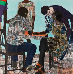 I Always Face You, Even When It Seems Otherwise (Right Panel) | Njideka Akunyili    Acrylic, pastel, charcoal, colored pencil, collage and Xerox transfers on paper addressing her 'internal tension' between her 'deep love for Nigeria and appreciation of western culture.'
