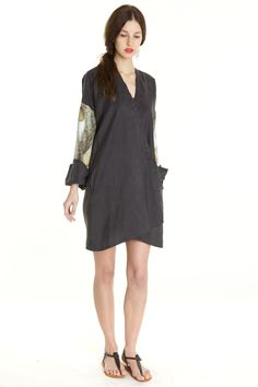 Short Black Silk Kimono Dress by Emilie Renard $350