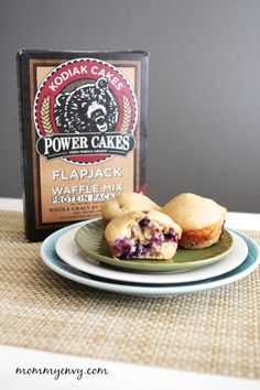 Kodiak Cakes                                                                                                                                                                                 More Kodiak Cake Muffins, Kodiak Pancakes, Pancake Muffins, Breakfast Muffins, Kodiak Protein Pancakes, Breakfast Recipes, Breakfast Ideas, Blueberry Protein Muffins, Healthy Muffins