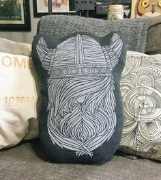 Viking Pillow | Made by hand from start to finish, this tough guy pillow liven... | Throw Pillows