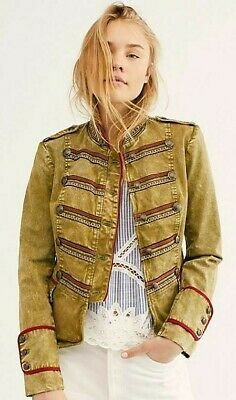 Free People Naomi Jacket Military Band Collar Olive Green Red