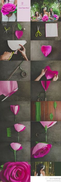 giant paper roses :: crepe paper sheets are a must so that you can stretch the tips of the petals. Large Paper Flowers, Crepe Paper Flowers, Fake Flowers, Diy Flowers, Fabric Flowers, Wedding Flowers, Giant Flowers, Wedding Bouquets, Flower Diy