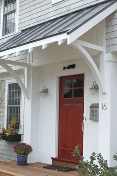 Cool 35 Gorgeous Farmhouse Front Door Entrance Design Ideas To Apply Asap. Front Door Overhang, Front Door Awning, Porch Awning, Front Door Entrance, Porch Roof, Exterior Front Doors, Window Awnings, Front Door Decor, Front Entry