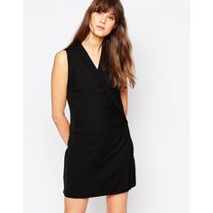 Vero Moda Sleeveless Wrap Front Dress ($60) ❤ liked on Polyvore featuring dresses, black, woven dress, sleeveless dress, black v neck dress, wrap front dress and tall dresses