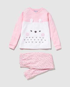 Pijama de niña Cotton Juice en rosa con print