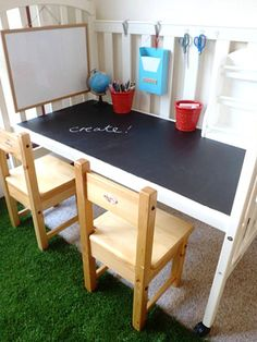 Awesome Study Room Design With Black And White Desk For Drawing Or Writing With Two Wooden Chairs And Green Fur Rug