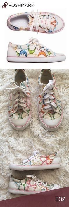 Coach Barrett Multi / White Scribble Sneakers 7.5 Coach Barrett multi / white scribble sneakers. In pre loved condition but tons of life left! All wear shown in photos. Size 7.5. Reasonable offers always accepted. Coach Shoes Sneakers