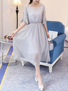 Round Neck Elastic Waist Hollow Out Plain Chiffon Maxi Dress