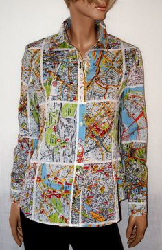 """Around the World... Fresh & Extravagant Woman Shirt Branded """"Miss Sixty Luxory"""" Camicia Donna Mappe Stradali Multicolore-Manica…"""