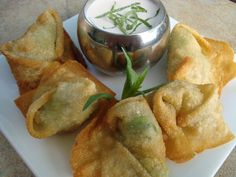 Fried Crab and Avocado Wontons. Recreated a shrimp, avocado, cream cheese version of these with a soy honey-lime dipping sauce after having them at a wedding. So yummy!
