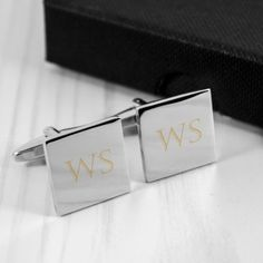 Engraved Rhodium Plated Square Cufflinks - Initials and Date Engraved Wedding Gifts, Wedding Gifts For Bride And Groom, Personalized Wedding Gifts, Bride Gifts, Personalised Gift Shop, Personalized Christmas Gifts, Christmas Gifts For Him, Fathers Day Gifts, Cufflinks