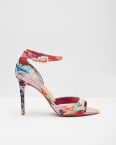 6e222eba365 Printed ankle strap sandals - Fuchsia