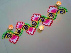 Beautiful flower type rangoli border design - YouTube