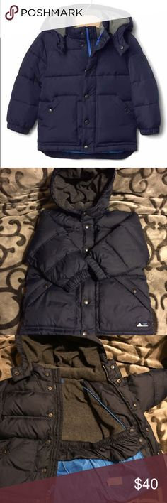 💕HP💕Baby Gap down filled puffer jacket Down filled. Long sleeves with elasticized cuffs and detachable hood. Snap front over zip closure. Full fleece lining. Interior snow skirt No rips, tears, stains.  From non smoking home. Size 3 years. GAP Jackets & Coats Puffers
