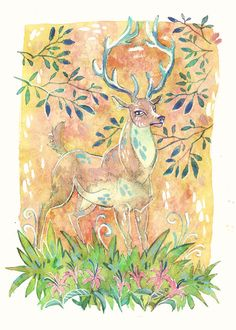 Prongs James Potter Harry Potter Marauders 5 x by LemonWatercolor