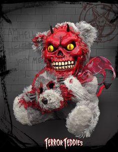 Terror Teddies Little Devil Bear Creepy Toys, Creepy Art, Scary Dolls, Scary Teddy Bear, Teddy Bears, Creepy Stuffed Animals, Zombie Silhouette, Diy Party Gifts, Cute Zombie