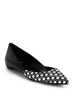 Pierre Hardy - Cube-Print Leather Point-Toe Flats