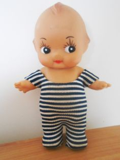 1960s 1970s Kewpie Doll Cupie Poseable Stripey Clothes LARGE Onesie