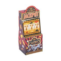 Don't gamble with less exciting favor boxes. Everyone's a winner when they leave the party with these fun Casino Night Slot Machine Favor Boxes! Online Casino Slots, Chocolate Coins, Casino Night Party, Poker Chips, Machine Design, Oriental Trading, Goodie Bags, Favor Boxes, Slot Machine