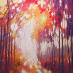 Title:Seeking the Light - a large abstract forest landscape; Artist Name:Gill Bustamante; x 40 x inches original oil painting of a wo. Forest Landscape, Abstract Landscape, Abstract Art, Seascape Paintings, Tree Paintings, Buy Art Online, Contemporary Paintings, Paintings For Sale, Online Art Gallery
