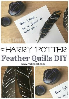 Harry Potter DIY Ideas - make these stunning, yet simple feather quills. With a little practice they actually write too!