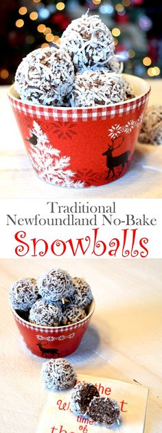 Traditional Newfoundland No-Bake Snowballs Recipe - Most Delish Comfort Foods Snowball Cookies, Holiday Cookies, Holiday Treats, Holiday Recipes, Christmas Baking Ideas Cookies, Easy Christmas Baking Recipes, Easy To Make Christmas Cookies, Christmas No Bake Treats, Christmas Baking Gifts