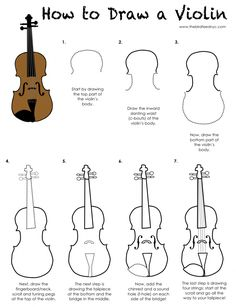 Printable Activity for Kids-How to Draw a Violin (The Bird Feed NYC)