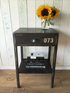 Industrial-style side table, painted in Annie Sloan Chalk Paint Graphite, distressed and sealed with Annie's soft dark wax.