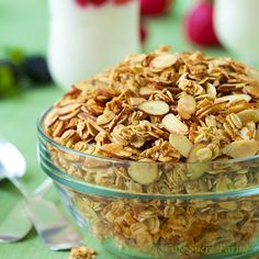 Oats, almonds and maple syrup, that's it! For this delicious breakfast treat, but be aware, it's quite addictive!  and Almost Too Deliciously Simple to be True - Maple-Vanilla Toasted Oats & Almonds