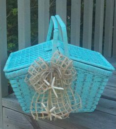 Picnic basket redo... this basket was so old and ugly, now is ready for a picnic on the beach.