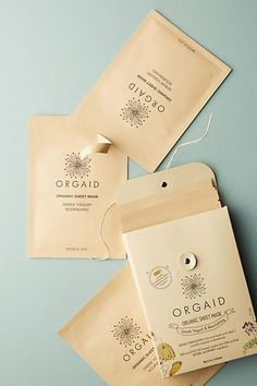 Orgaid Organic Sheet Mask Set Variety to open with - Meghan to introduce you Skincare Packaging, Cosmetic Packaging, Beauty Packaging, Organic Packaging, Tea Packaging, Packaging Design, Candy Packaging, Packaging Ideas, Organic Beauty