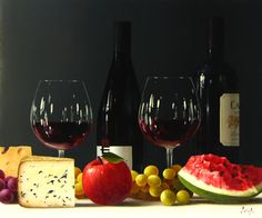 ROBERTO SALAS ARTIST   Originals by Artist Roberto Salas Wine Painting, Still Life Photos, Red Wine, The Originals, Artist, Artwork, Paintings, Collection, Ideas