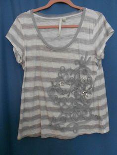 LC Lauren Conrad White Gray Stripe Large T-Shirt Embellished Sequins Bling Bead