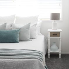 INVITING Creating a guest bedroom that is comfortable and inviting is mostly to do with the bed - it is the first thing. Green Cushions, Bedside Tables, Bedroom, Luxury, Freedom, Australia, Vase, Furniture, Create
