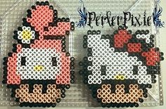 My Melody and Hello Kitty Mushrooms by PerlerPixie.deviantart.com on @DeviantArt