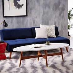 Reeve Mid-Century Oval Coffee Table - Marble Top