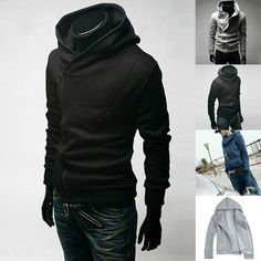 Slim Fit Casual Outwear Coat Hoodie Long Sleeve Men Stylish Zipper | eBay