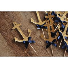 Anchor Cupcake Toppers ships in by ConfettiMommaParty on Etsy Nautical Baby Shower Decorations, Nautical Cupcake, Nautical Bridal Showers, Nautical Party, Nautical Theme Baby Shower, Anchor Decorations, Nautical Wedding Cupcakes, Nautical Food, Navy Party