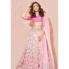 Gorgeous Mehendi Outfit Ideas To Steal From Alia Bhatt Lehenga Crop Top, Floral Lehenga, Pink Lehenga, Bridal Lehenga, Indian Lehenga, Indian Bridal Wear, Indian Wedding Outfits, Indian Wear, Indian Outfits