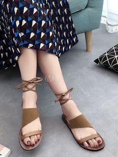 Sandales pour Femmes 2018 marron Sandales plates en daim à bout ouvert  chaussures pour femmes - efad26e7f81