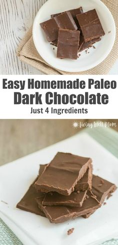Trying to eat healthier? Try this simple recipe for Homemade Paleo Dark Chocolate. With just 4 simple ingredients it's inexpensive very easy to make and delicious! With no dairy soy or refined-sugar that's found in regular chocolate from the store t Paleo Dessert, Dessert Sans Gluten, Healthy Sweets, Vegan Desserts, Dessert Recipes, Easter Recipes, Dinner Recipes, Chocolate Paleo, Dark Chocolate Recipes