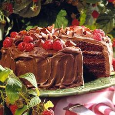 Chocolate raspberry mousse cake- raspberries and mousse combine for a tempting chocolate delight