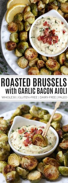 Roasted Brussels Sprouts with Bacon Aioli healthy brussels sprouts recipes homemade brussels sprouts how to cook brussels sprouts healthy side dishes healthy appetizer recipes appetizer recipes gluten-free appetizers dairy-free app Paleo Recipes, Real Food Recipes, Whole 30 Recipes, Cooking Recipes, Free Recipes, Jalapeno Recipes, Copycat Recipes, Cooking Icon, Cooking Games
