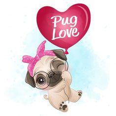 Amor Pug, Boat Cartoon, Cute Cartoon, Perro Shih Tzu, Baby Animals, Cute Animals, Alfabeto Animal, Giraffe Illustration, Elephants Playing