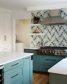 """Karen Berkemeyer Home on Instagram: """"Inspired by modern design with an updated mid century feel, this kitchen WOW's with the Vitruvius Botanic Green stone mosaic by…"""" Kitchen Images, Stone Mosaic, Green Stone, Kitchen Island, Modern Design, Mid Century, Inspired, Instagram, Home Decor"""