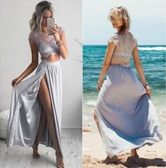Elegant Long Prom Dresses,Cap Sleeves Prom Dresses,Two Piece Prom Dresses,With Slit Prom Dresses,Lace Prom Dresses